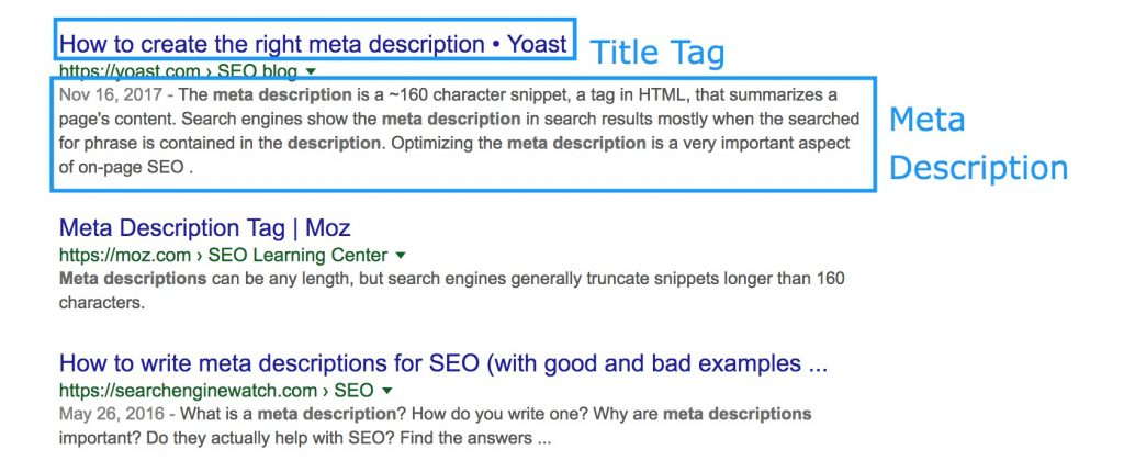 Example of meta description and title tag.